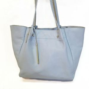 T Tahari Large Sky Blue Leather Unstructured Bag